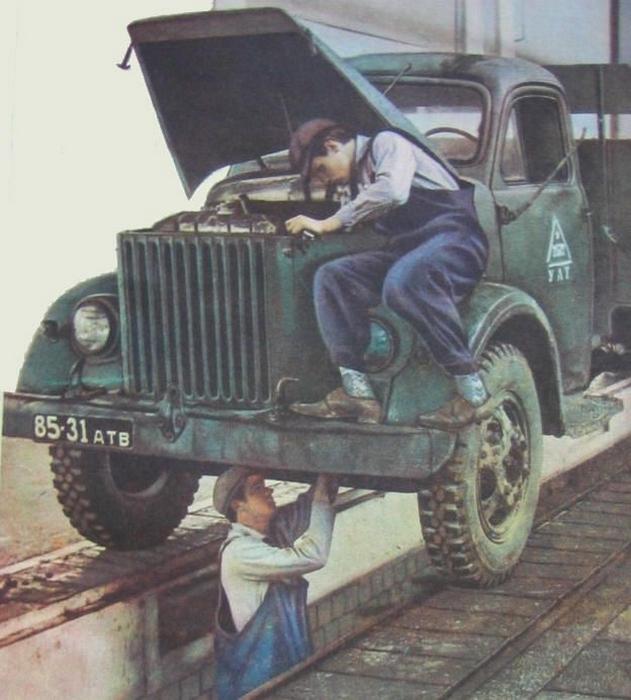 ГАЗ-51 на ремонтной яме
